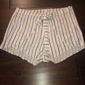 Navy Blue and White Stripped Pacsun Flowy shorts